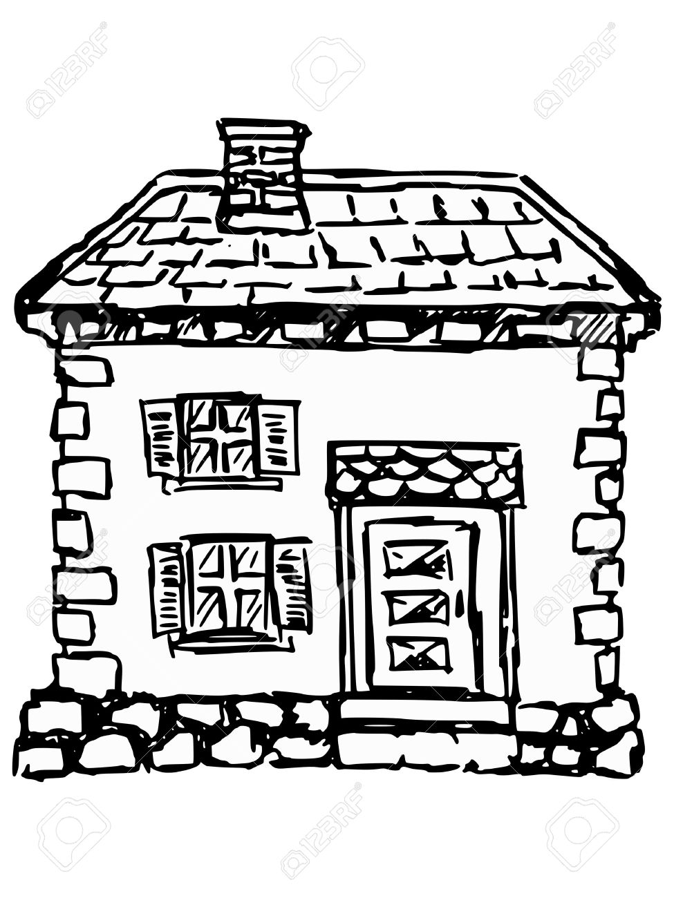 Sketch, Doodle Illustration Of Old House Royalty Free Cliparts.