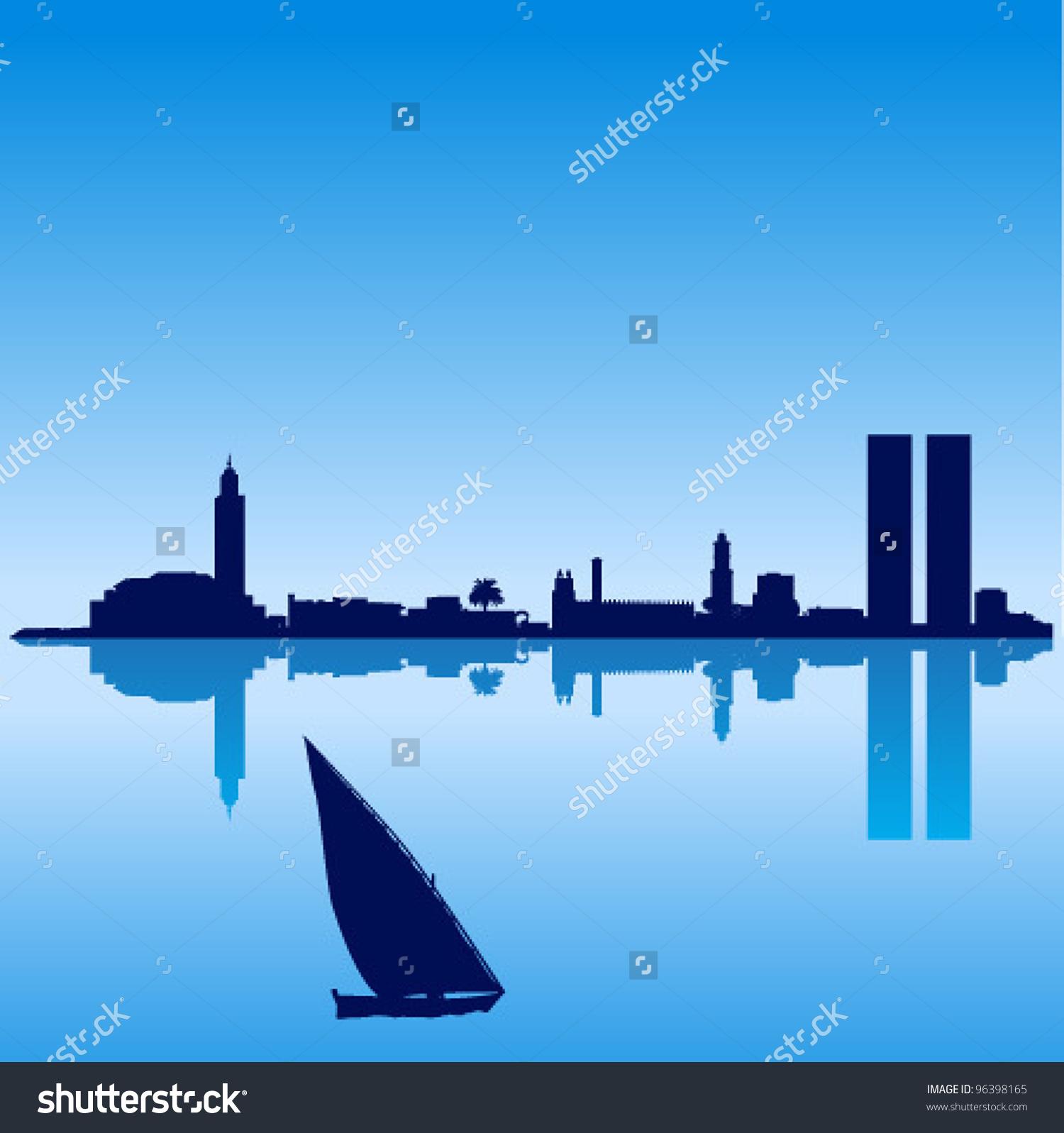 Detailed Vector Casablanca Silhouette Skyline Stock Vector.
