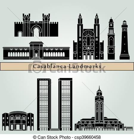 Clipart Vector of Casablanca landmarks and monuments isolated on.