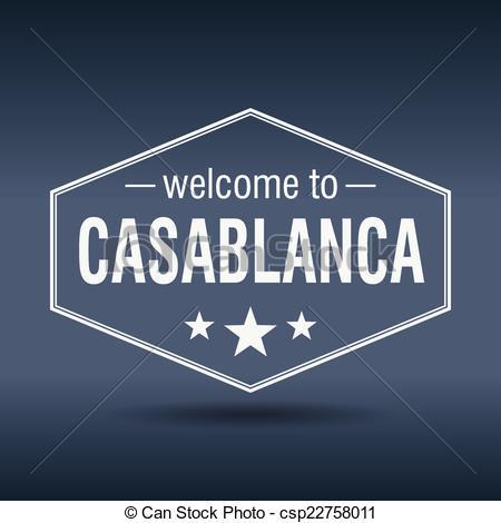 Vector Clip Art of welcome to Casablanca hexagonal white vintage.