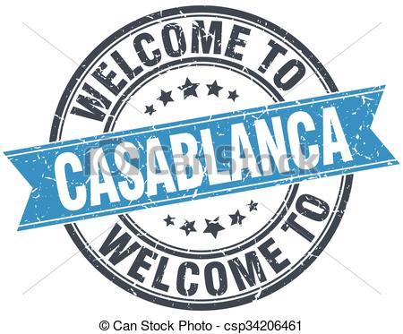 Clip Art Vector of welcome to Casablanca blue round vintage stamp.