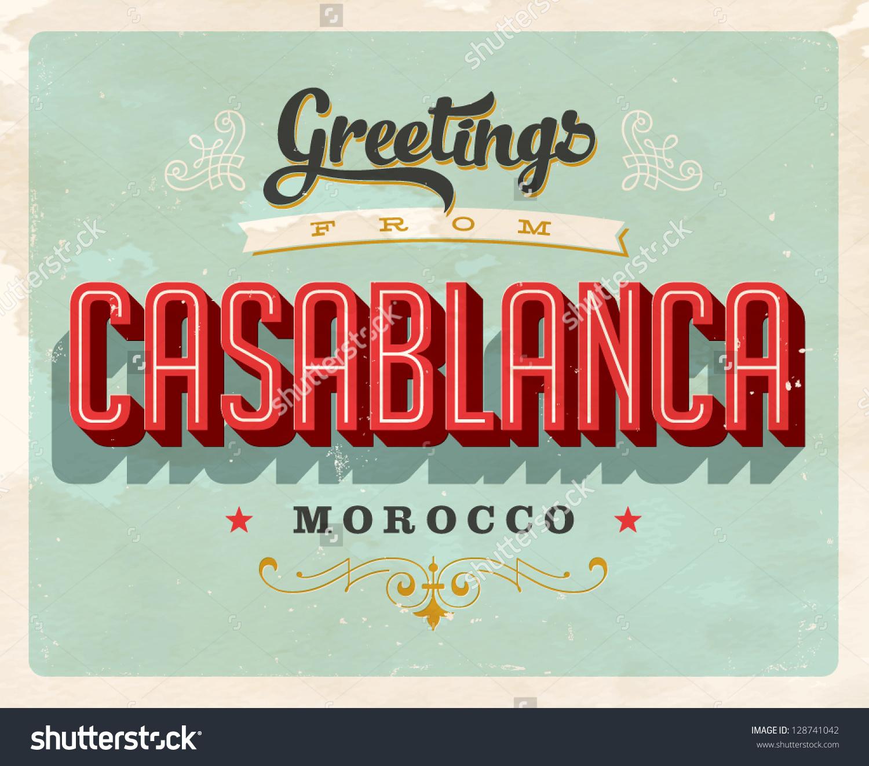 Vintage Touristic Greeting Card Casablanca Morocco Stock Vector.