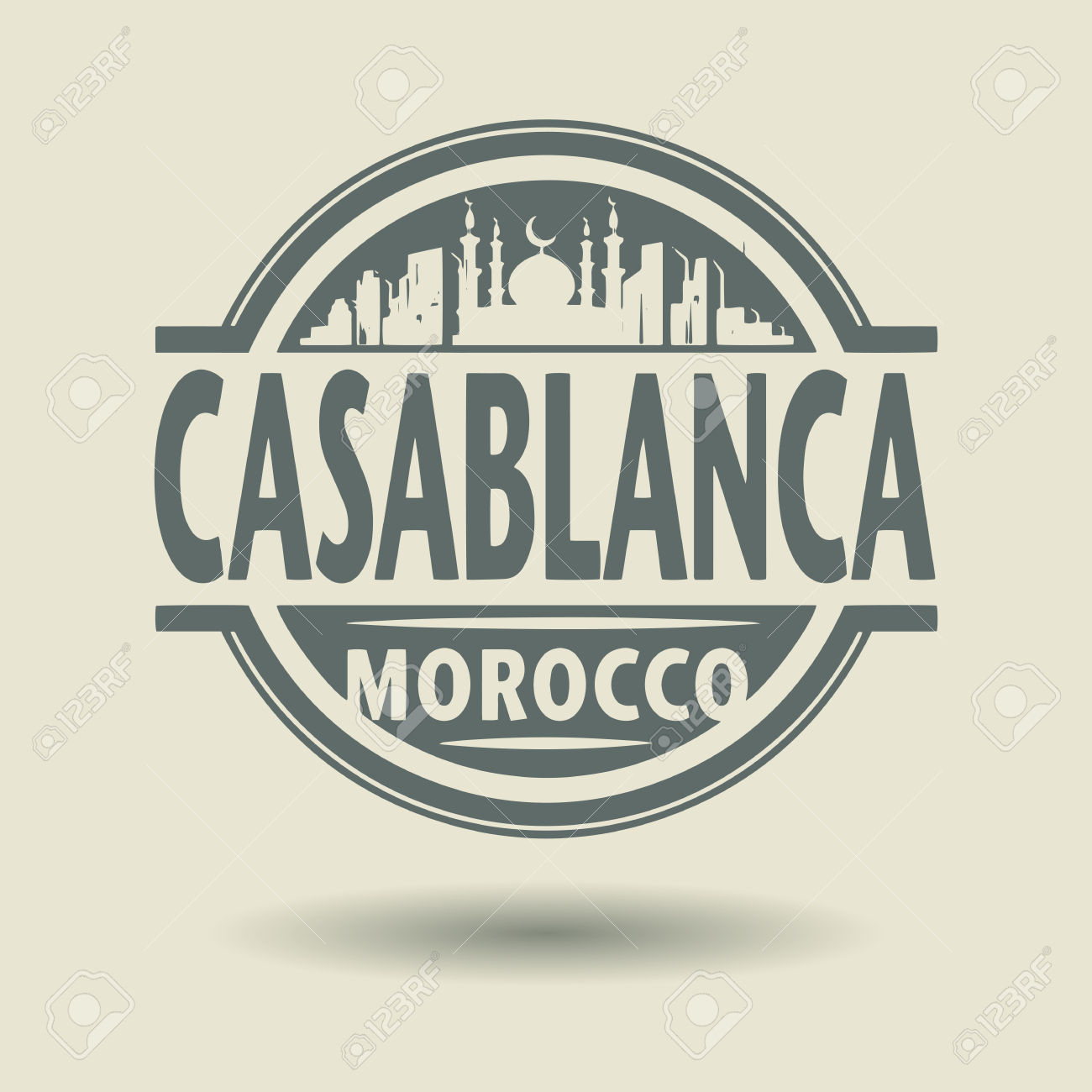 Stamp Or Label With Text Casablanca, Morocco Inside Royalty Free.