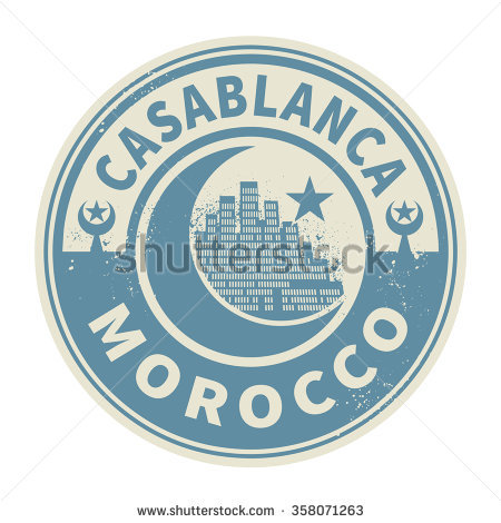 Stamp Or Emblem With Text Casablanca, Morocco Inside, Vector.