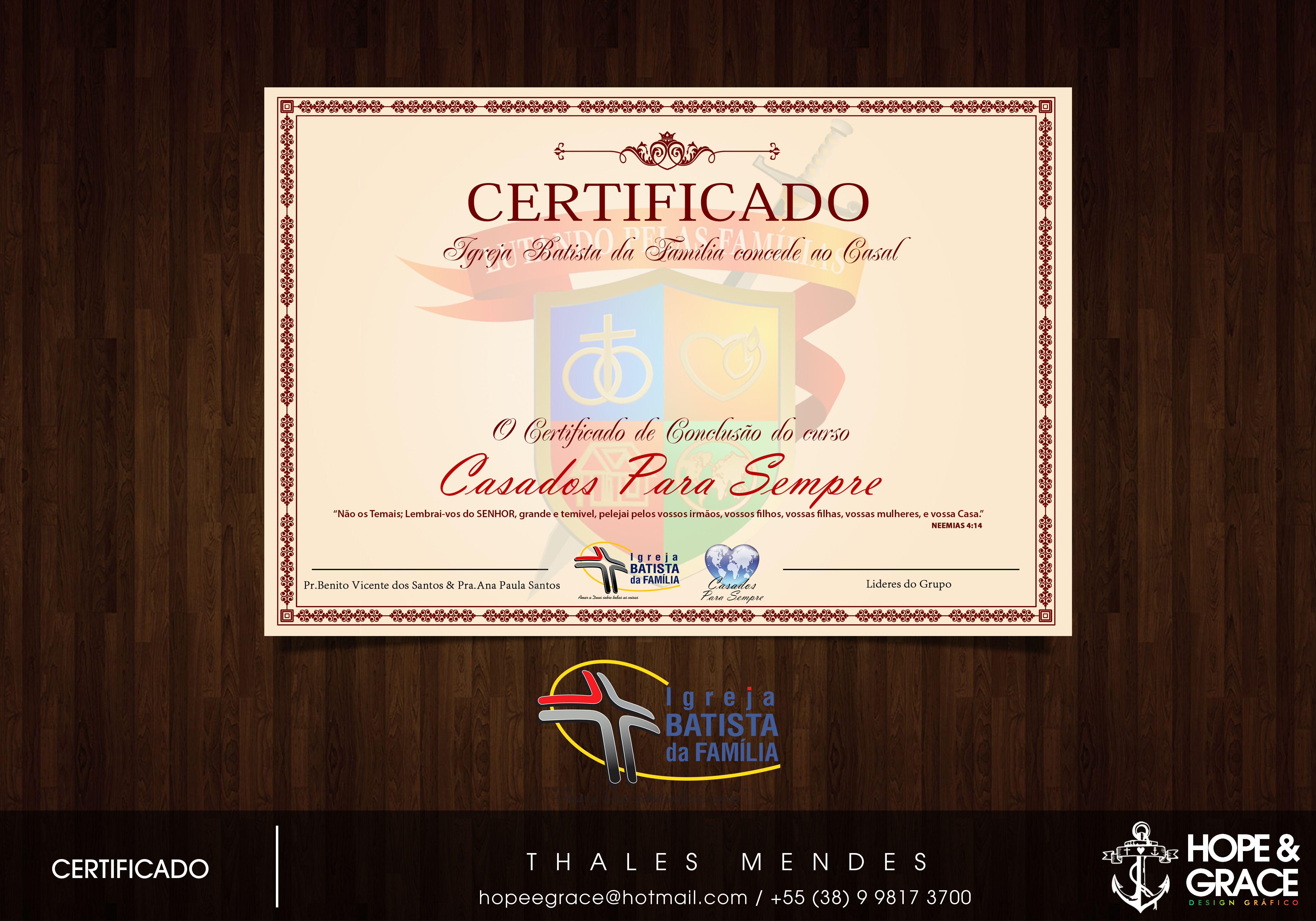 Certificado do curso Casados para Sempre da Igreja Batista.
