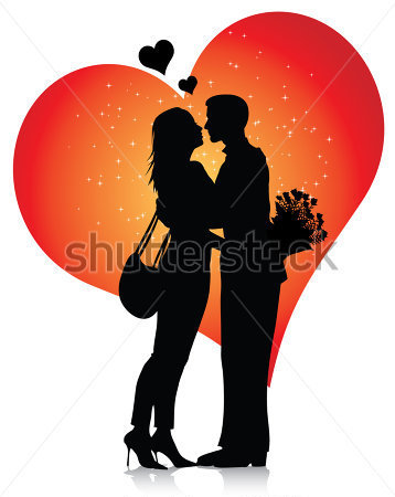 Gallery For > Couple Embrace Silhouette Clipart.