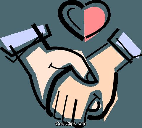Casal de mãos dadas livre de direitos Vetores Clip Art ilustração.