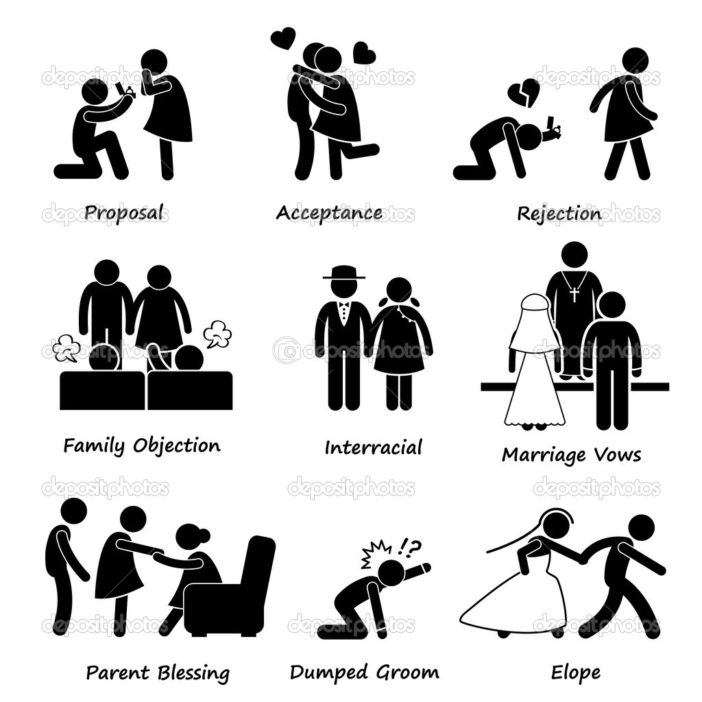 Love Couple Marriage Problem difficulty Stick Figure Pictogram.