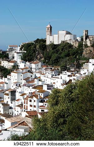Stock Photography of View of town, Casares, Spain. k9422511.