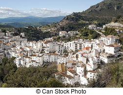 Stock Photography of Whitewashed village, Casares, Spain.