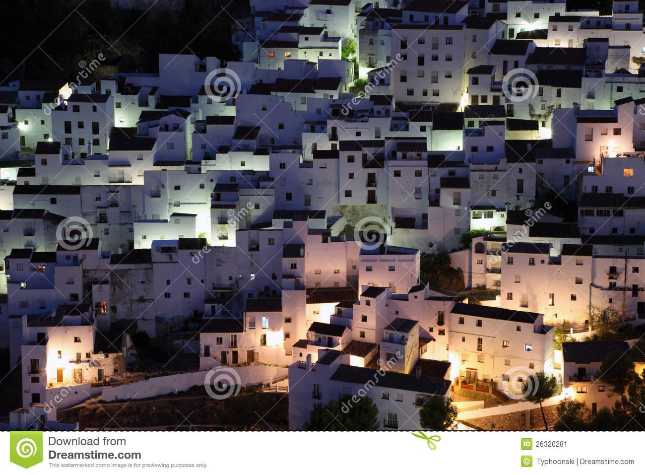 Casares At Night. Spain Stock Image.