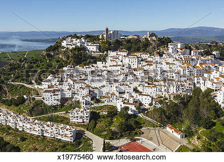 Stock Photography of Casares, Spain. White mountain village.