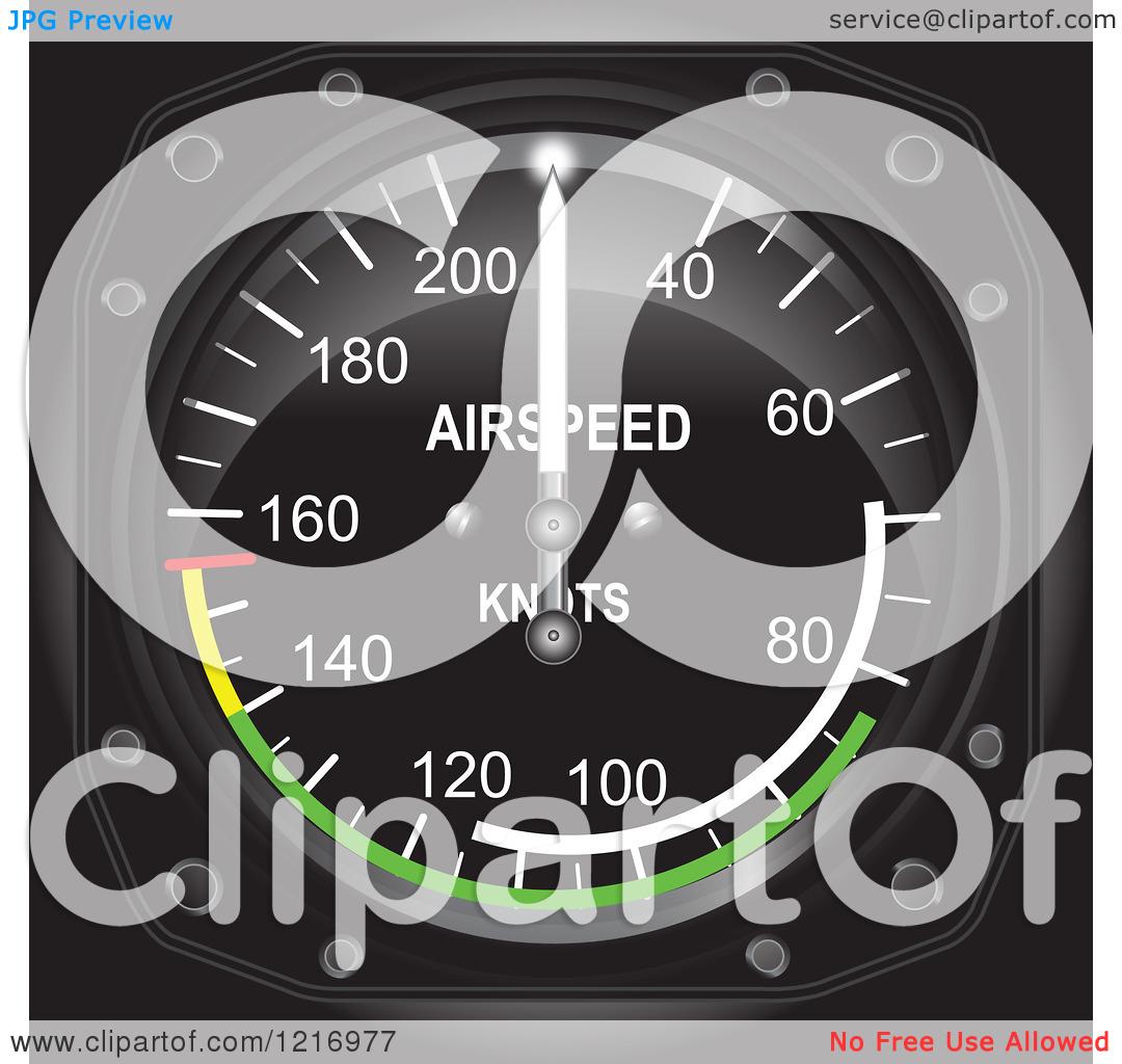 Clipart of a Casares Air Speed Indicator Gauge.