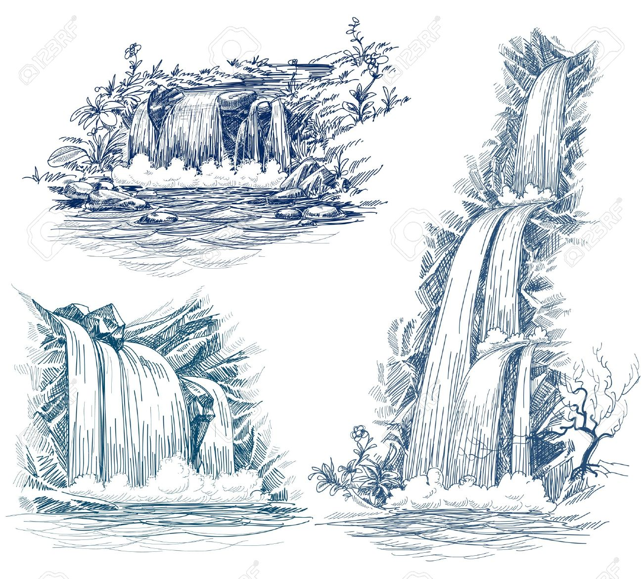 Water falls silhouette clipart.