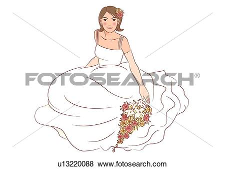 Stock Illustration of Bride sitting and looking up, wedding.