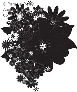 Clip Art Illustration of Black and White Cascading Flowers.