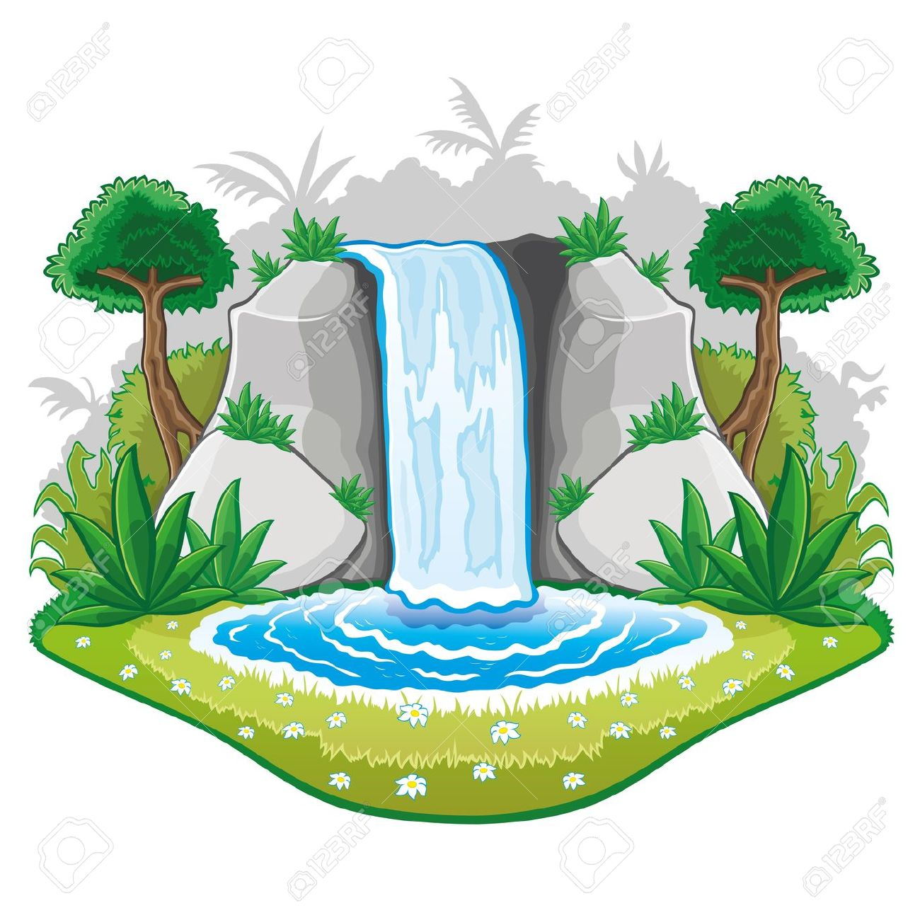 Mountain waterfall clipart.