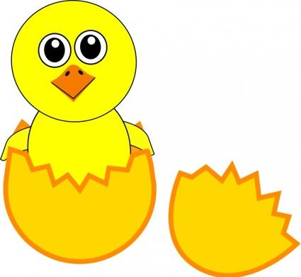 Funny chicks cartoon easter eggs a basket Free vector for.