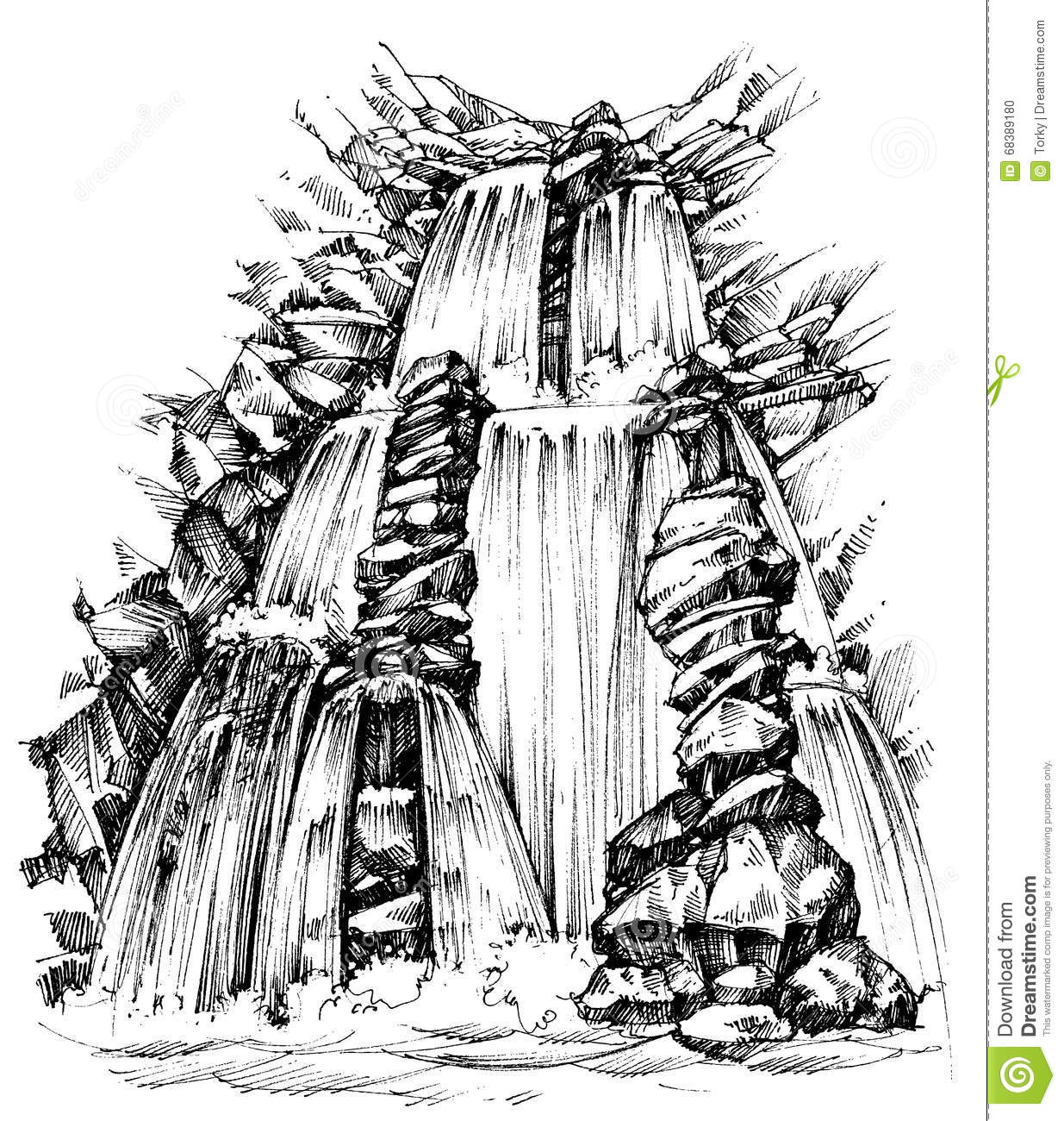 Water Fall Cascade Mountains Stock Illustrations.