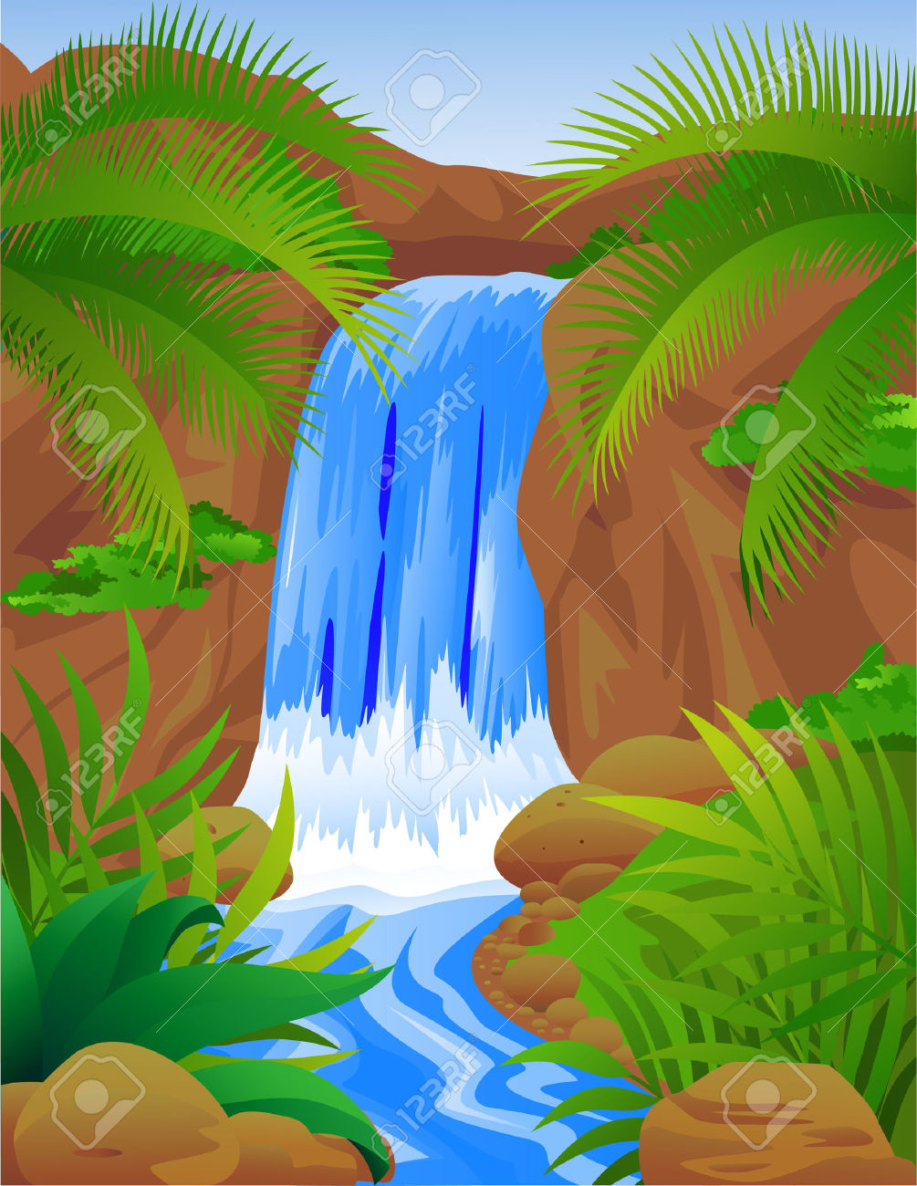 Bellissima Cascata Clipart Royalty.