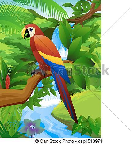 Clipart vettoriali di cascata, pappagallo.
