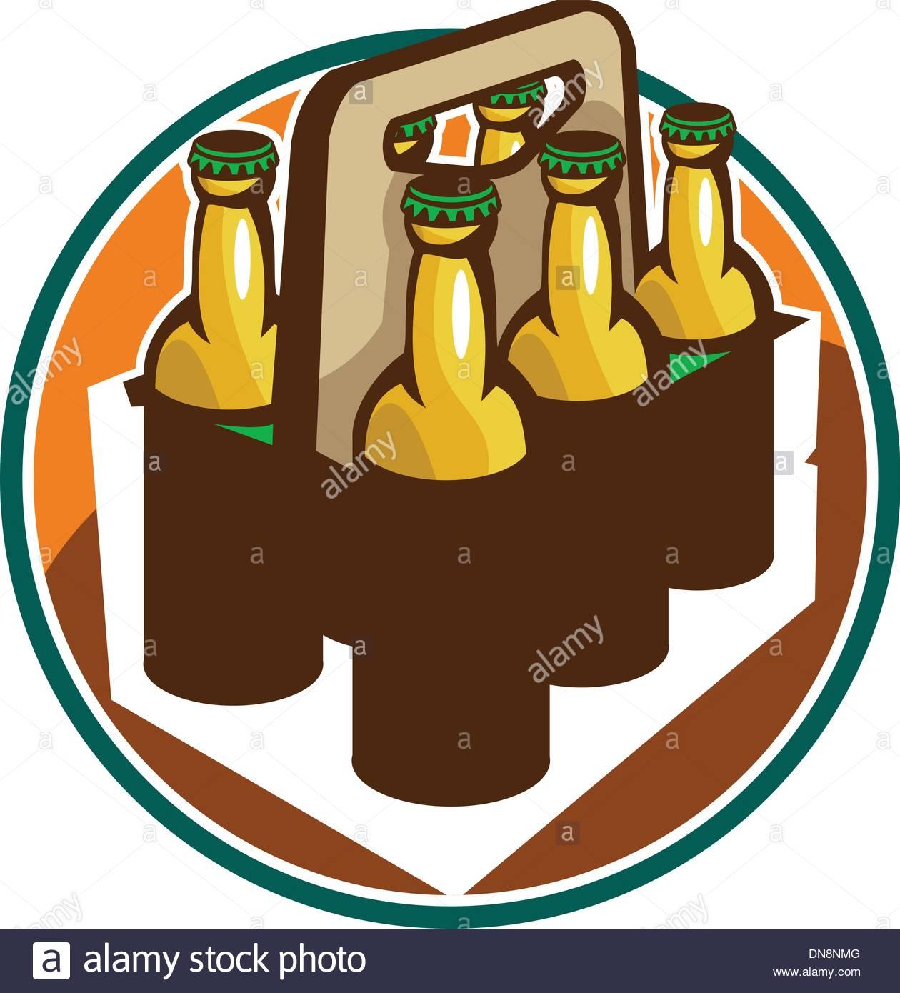 Beer Bottle 6 Pack Retro Stock Vector Art & Illustration, Vector.