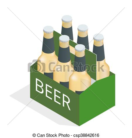 Vector color isometric icon with case of beer with six beer bottles. Flat  3d vector isometric illustration..