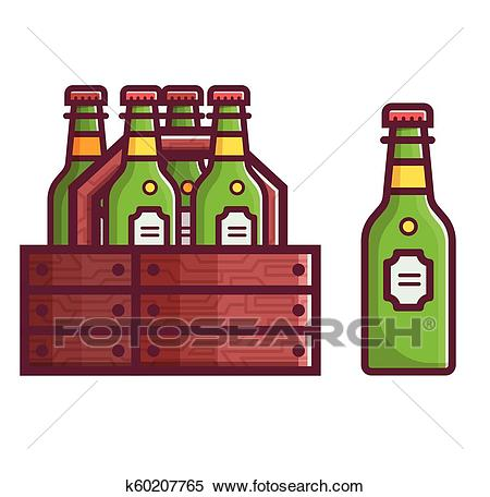 Case of Beer in Bottles Clipart.