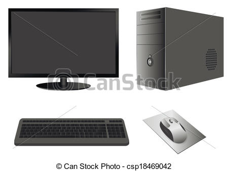 EPS Vector of Computer Case with Monitor, Keyboard and Mouse.