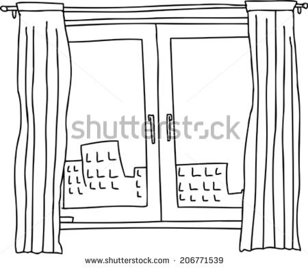 Black outline of casement window with apartment building stock.