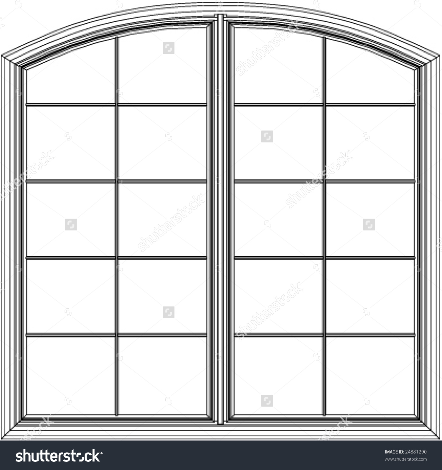 Archtop Casement Window Stock Vector 24881290.