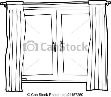 Clipart Vector of Outline of Casement Windows.