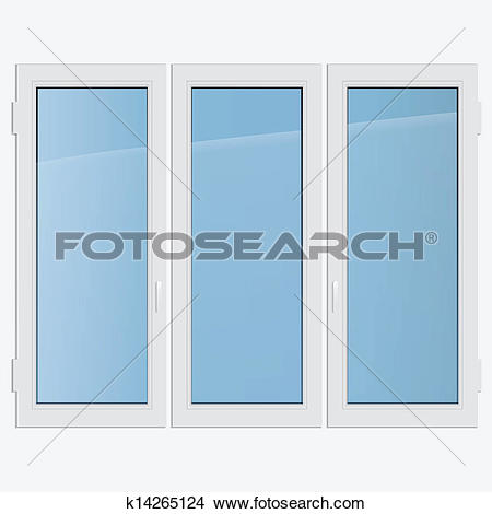 Clipart of triple casement plastic window k14265124.