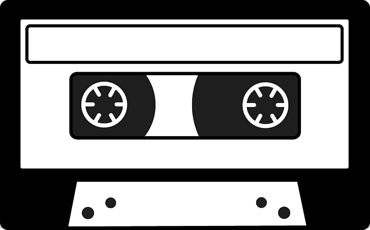 Compact Cassette Mixtape Drawing , Cassette, white and black.