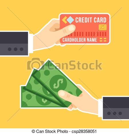 Clipart Vector of Hand with credit card,hand and cash.