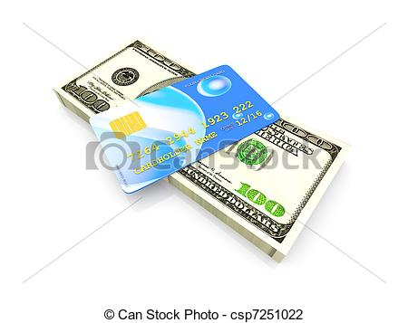 Clip Art of Credit Card and Cash.