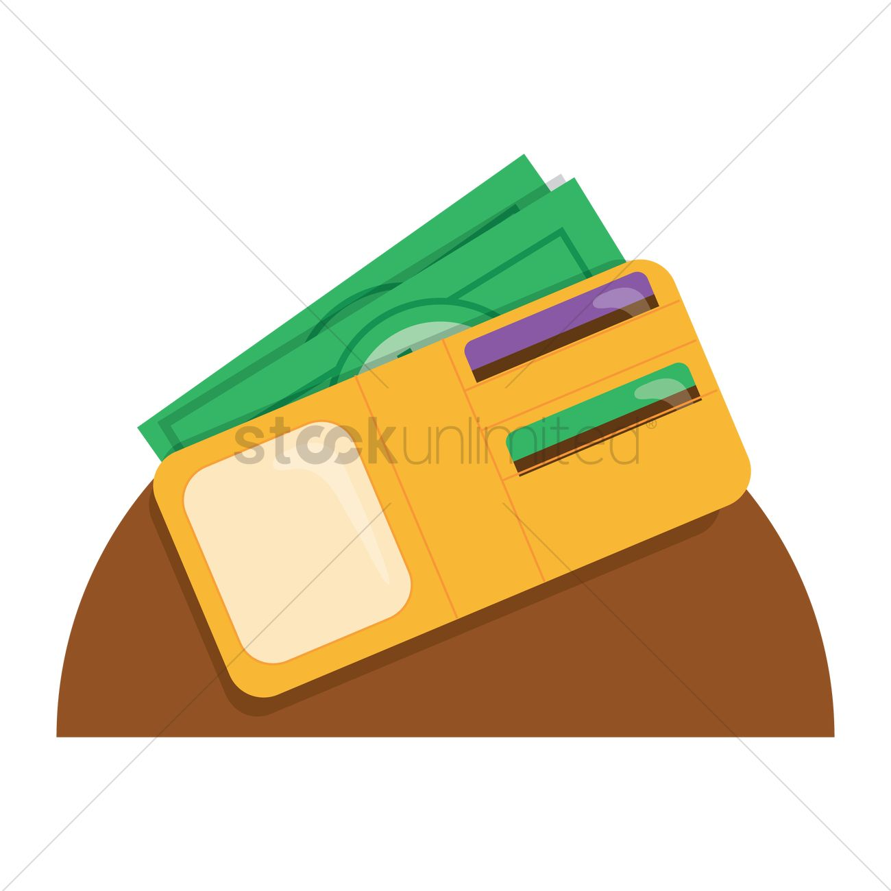 Wallet with cash card Vector Image.
