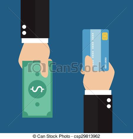 Clip Art Vector of Businessman hand with credit card and cash back.