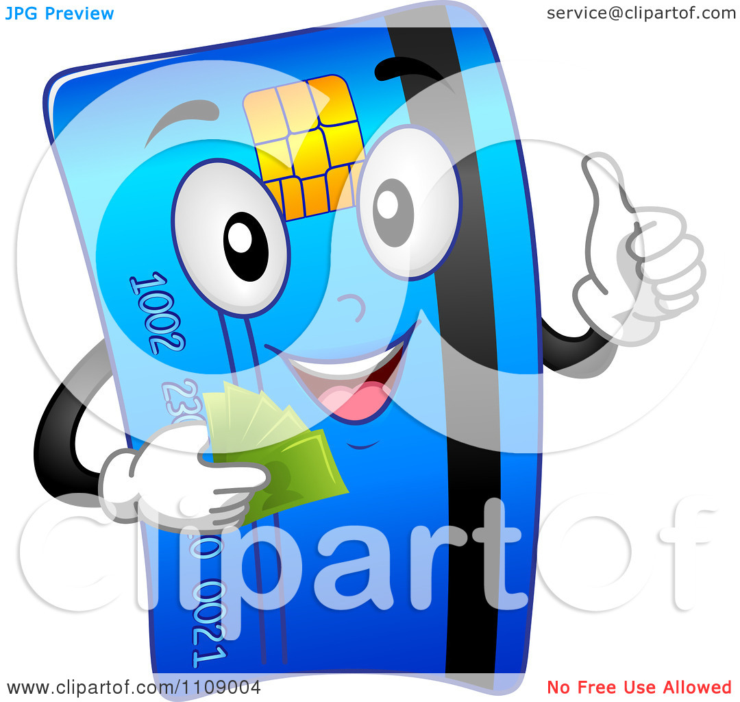 Clipart Happy Credit Card Mascot Holding Cash And A Thumb Up.