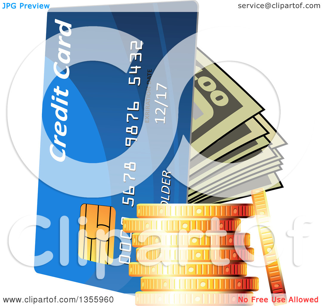 Clipart of a 3d Stack of Gold Coins, Cash Money and a Credit Card.