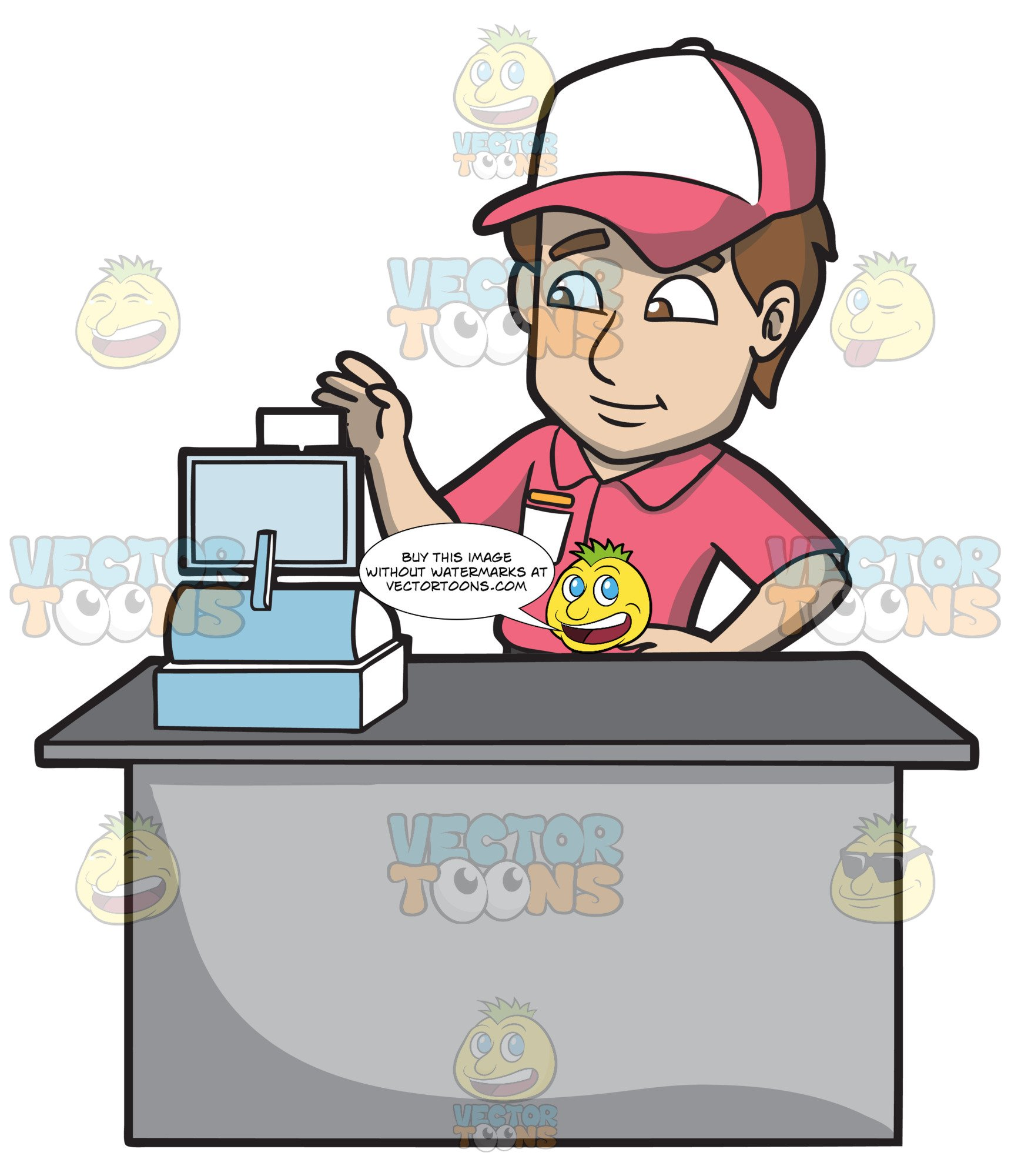 A Fast Food Employee Using The Cash Register.