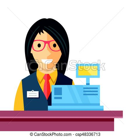 Cashier woman at checkout counter. Counter desk, cash register, till and  smiling happy female clerk. Creative checkout concept. Modern flat vector.