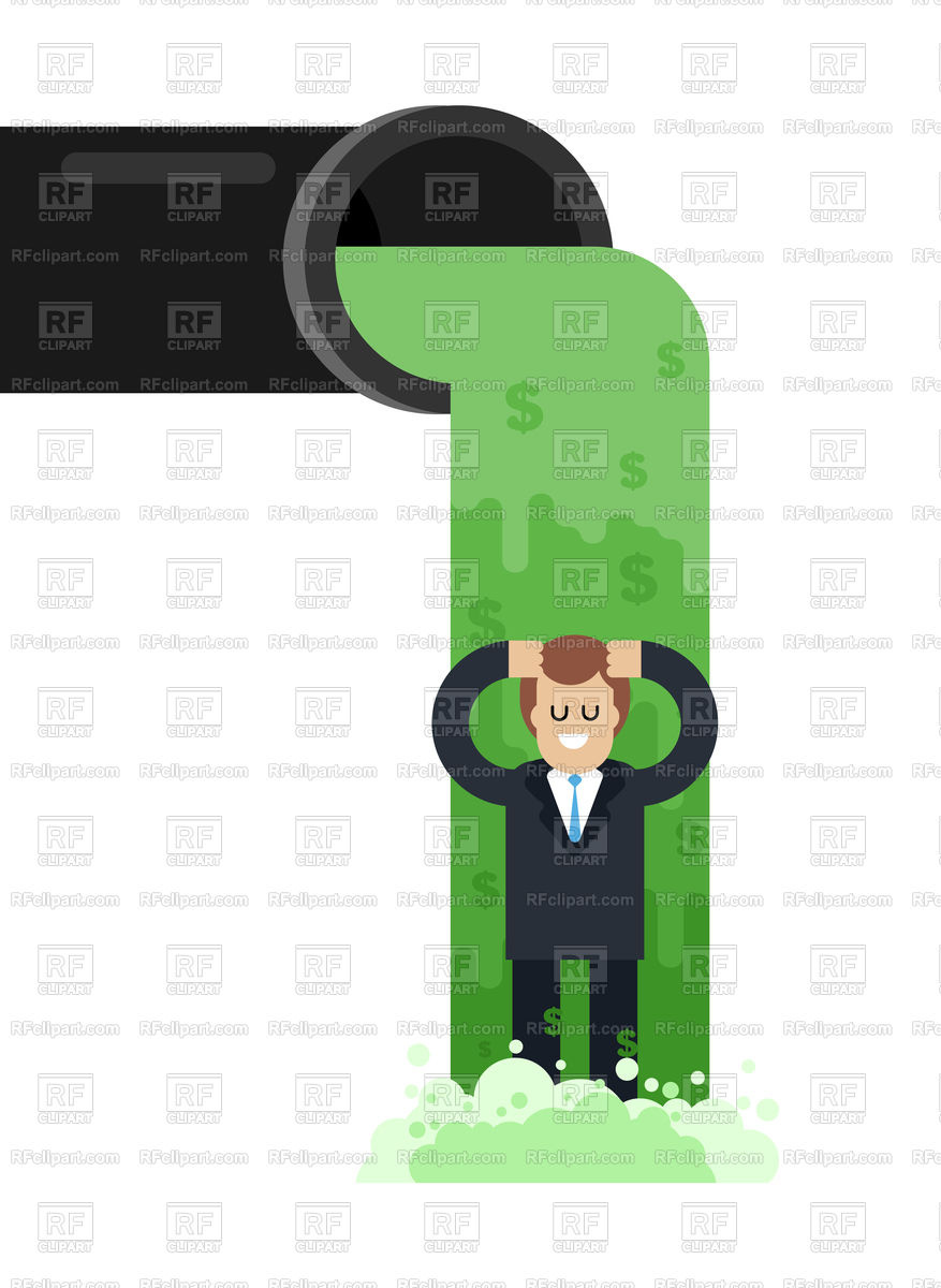 Flow of money from pipe. River of cash. Flow of dollars. Profit business  concept. Stock Vector Image.