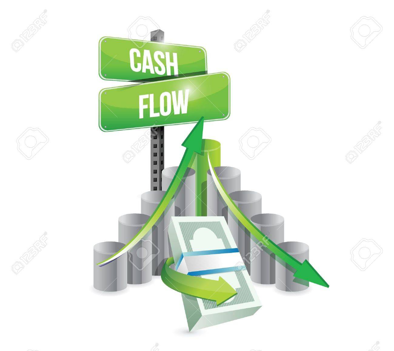 cash flow business graph illustration design over a white background.