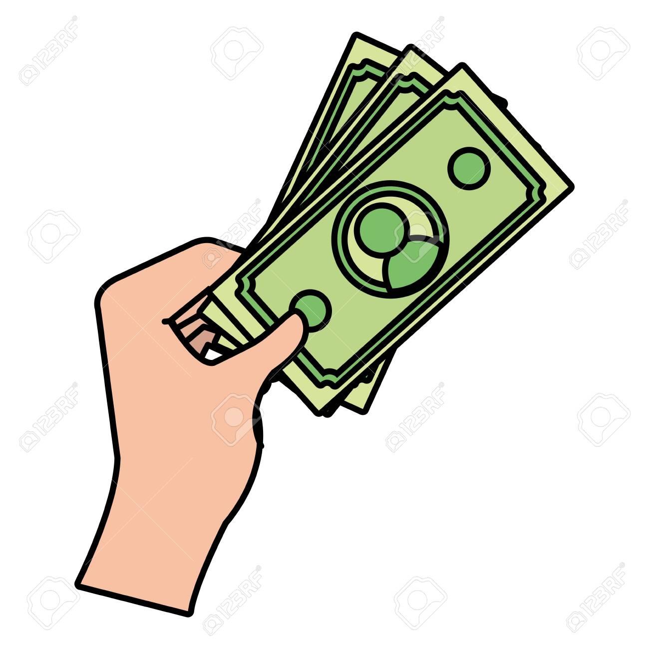 human hand holding cash money bills cartoon vector illustration...