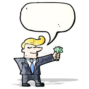 businessman with cash in hand Clipart Image.