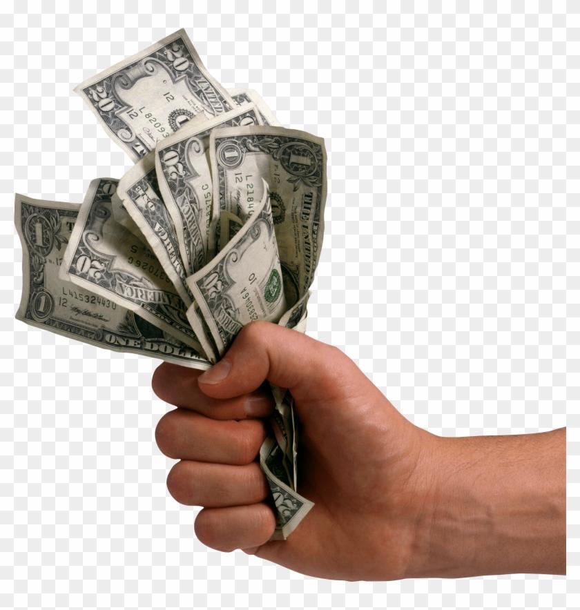 Hand Holding Dollars Money.