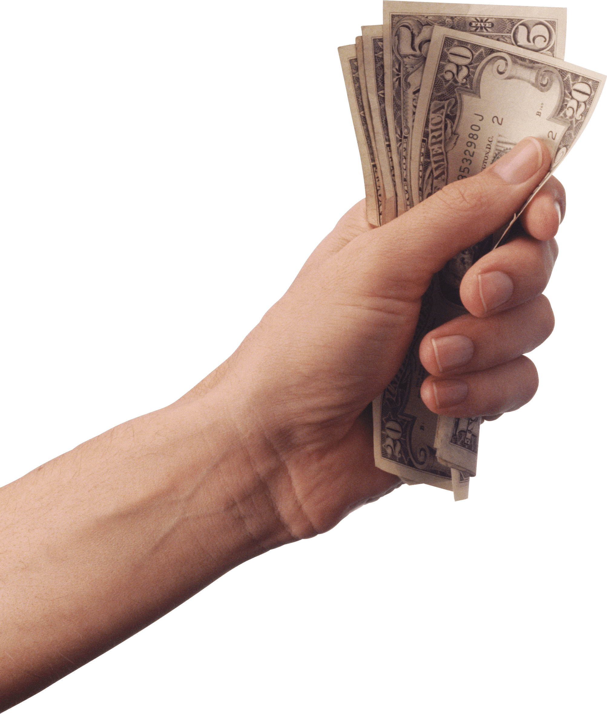 Hand Holding Cash Money transparent PNG.