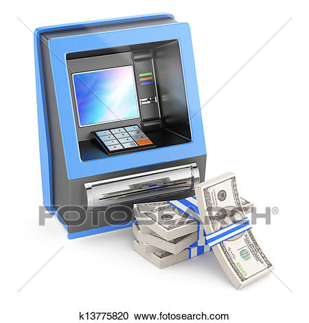 Cash machine and stack of dollars Clipart.