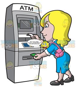 A Woman Getting Her Atm Receipt And Cash.